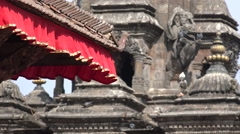 Patan Durbar Square, cultural heritage, temple towers, detail, Kathmandu, Nepal Stock Footage