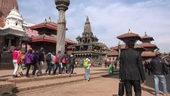 Nepal tourism, people visit Patan Durbar Square in Kathmandu Stock Footage