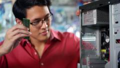 Portrait Of Chinese Man Reparing PC In Computer Shop Stock Footage