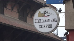 Himalayan Java Coffee bar at Durbar Square in Kathmandu, Nepal Stock Footage