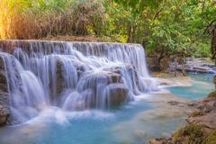 Waterfall in rain forest (Tat Kuang Si Waterfalls at Luang prabang, Laos) Stock Photos