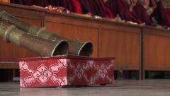Prayer horn in Tibetan style monastery in Kathmandu, Nepal Stock Footage