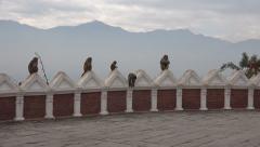 Monkeys on Kathmandu temple complex, mountain silhouettes, Nepal Stock Footage