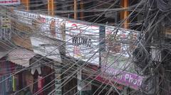 Tangled electricity wires, power transmission, Thamel, Kathmandu, Nepal, Asia - stock footage