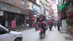 People and traffic in Thamel district in Kathmandu, Nepal Stock Footage