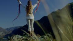 Altai beautiful priestess of the sun Stock Footage