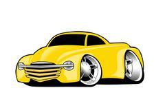 Modern American Yellow Muscle Pickup Truck Cartoon Illustration Stock Illustration
