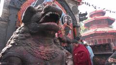 Nepal religion, Kathmandu, people perform religious ritual at Durbar Square Stock Footage