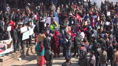 Students hold political protest, crowd in Kathmandu, chanting, shouting, Nepal Stock Footage