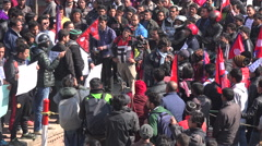 Crowds at political protest at Durbar Square in Kathmandu, Nepal Stock Footage
