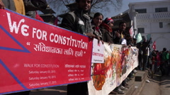 Students hold banners during peaceful political protest in Kathmandu, Nepal Stock Footage