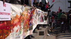 Students hold banner during peaceful political protest in Kathmandu, Nepal Stock Footage
