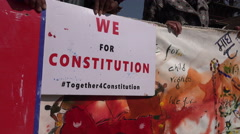 Nepal, students protest for a better constitution at a rally in Kathmandu Stock Footage
