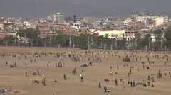People play sports in the central park in Kathmandu city, Nepal Stock Footage
