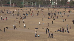 Nepal sports, playing cricket and football (soccer) in Kathmandu central park Stock Footage