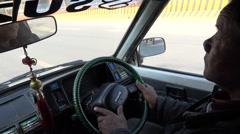 Driving an old taxi through Kathmandu city, Nepal Stock Footage