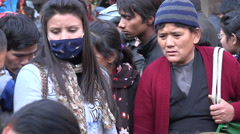 Bargaining at the market, buying vegetables in central Kathmandu, Nepal Stock Footage