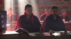 Nepal religion, beams of sunlight in monastery, praying Buddhist monks - stock footage