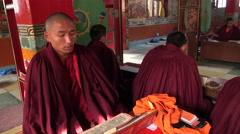Buddhist monks in Nepal monastery, meditation, chanting, ceremony - stock footage