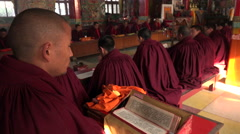 Buddhist monks prayer ceremony in Kathmandu monastery, Nepal religion Stock Footage