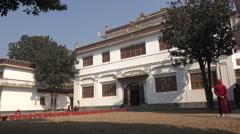 Facade of Tibetan style monastery in Kathmandu, Nepal Stock Footage
