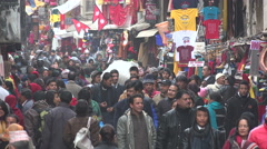 Crowds in busy shopping street in old Kathmandu, tourists and locals, Nepal Stock Footage