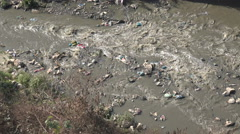 Polluted river in Kathmandu city, Nepal Stock Footage