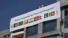 Nepal, deeper integration for South Asian countries, convention center Kathmandu - stock footage
