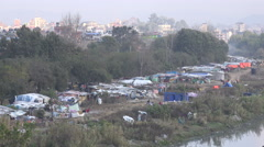 Makeshift slum houses in Kathmandu city Stock Footage