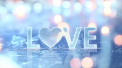 Love sign text and glow lights loopable 4k (4096x2304) Stock Footage