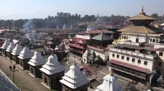 Nepal landmark structures, Pashupatinath temple complex in Kathmandu Stock Footage