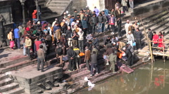 Blessings at a funeral ceremony in Pashupatinath temple in Kathmandu, Nepal Stock Footage
