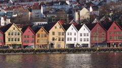 Norway - Bergen UNESCO Heritage Site Harbor Stock Footage