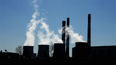 Coal-Burning Power Plant silhouette Stock Footage