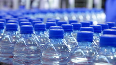 pure water bottle conveyor industry - stock footage
