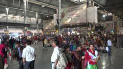 Howrah railway station, train passengers, transportation lobby, Kolkata, India Stock Footage
