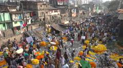 Mulik Ghat Flower market in Kolkata, India Stock Footage