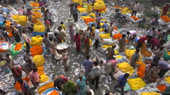Busy colorful flower market in Kolkata, India Stock Footage