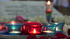 Candles at the tomb of Mother Teresa in Kolkata, India Stock Footage