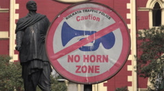 No horn zone in front of Kolkata High Court, India Stock Footage