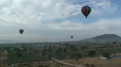 Hot Air Balloon fly over Teotihuacan, Mexico. Stock Footage