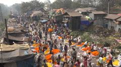 India, Kolkata, Mulik Ghat Flower Market, vendors, colorful, old houses Stock Footage