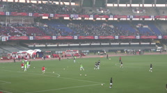Warming up before a football match at the pitch of Atletico Kolkata, India - stock footage