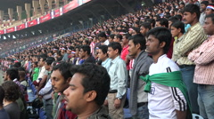 India, football game, soccer match, national anthem, fans standing, stadium - stock footage