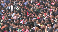 Football fans wait for a soccer game to start in Kolkata, India Stock Footage