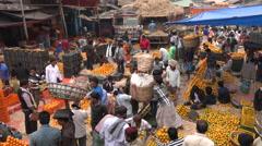 Busy fruit market, trading fresh oranges in Kolkata, India, Asia Stock Footage