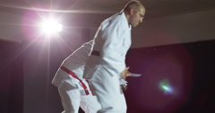 Two martial arts athletes during practice Stock Footage