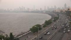 Mumbai skyline and Marine drive at dusk Stock Footage
