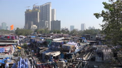Overview of the Dhobi Ghats and construction site in Mumbai, India Stock Footage