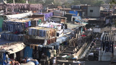 Overview of the Dhobi Ghats in Mumbai, India Stock Footage